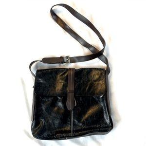 Aurielle Black Brown LEATHER Boho Crossbody Bag